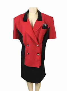 Danny Nicole Red Black Short Sleeve Blazer and Skirt Suit Size 20W | eBay