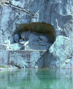27. Wounded Lion Sculpture in Honor of Swiss Guards Who Died in the French Revol...