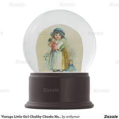 Vintage Little Girl Chubby Cheeks Hat Dolls Snow Globes