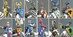 The Round Table of Bretonnia - Gallery - Category: Bretonnia - Picture: Shields and shoulderpads Warhammer Art, Warhammer 40k Miniatures, Warhammer Fantasy, Warhammer 40000, Fantasy Battle, Fantasy Art, Medieval, King Horse, Shield Design