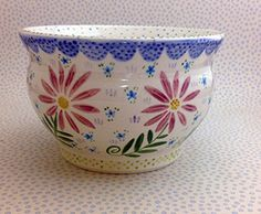 Pottery * Cache Pot Pink Daisies
