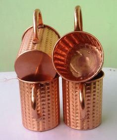 Unlined Moscow Mule Copper Mugs, Solid Copper Mugs 16 oz Straight Hammered  #VisvabhavanahMart