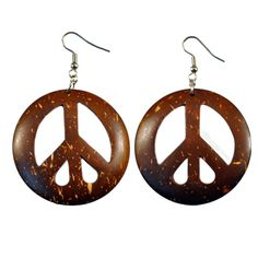 Peace Coconut Shell Earrings on Sale for $6.99 at HippieShop.com