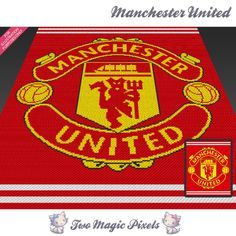 Manchester United crochet graph (Mini by TwoMagicPixels on Zibbet Knitting Paterns, Crochet Blanket Patterns, Manchester United Baby, Tapestry Crochet, C2c Crochet, Bobble Stitch, Pattern Images, Square Patterns, Knitted Blankets