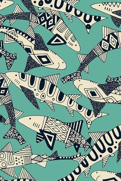 shark party jade by scrummy We love these intricately illustrated black and white sharks on turquoise!  This playful pattern is great for spicing up a boring room with some bold home decor.  Click to see more bold animal illustrations by this indie designer.