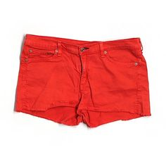 Pre-owned Rag & Bone/JEAN Denim Shorts Size 10: Red Women's Bottoms ($41) ❤ liked on Polyvore featuring shorts, red, denim shorts, jean shorts, short jean shorts, red shorts and red jean shorts