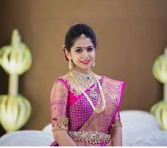 Gorgeous South Indian Bride in a Fuschia Kanchipuram Silk Saree Indian Bridal Sarees, Bridal Silk Saree, Indian Bridal Fashion, Indian Bridal Wear, Saree Wedding, South Indian Bride Saree, Pattu Saree Blouse Designs, Bridal Blouse Designs, Saree Models