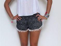 Pom Pom Shorts - Black and White dot pattern with White Pom Pom Trim - lightweight chiffon by ljcdesignss on Etsy https://www.etsy.com/listing/174767912/pom-pom-shorts-black-and-white-dot