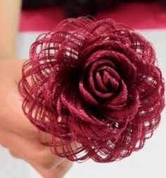 You wont believe it but this gorgeous magical rose is made from a simple piece of satin fabric and you can create it literally in minutes with a simple but very clever trick pulling out some threads from the satin fabric unbelievable isn t it watch Paper Flowers Roses, Burlap Flowers, Faux Flowers, Diy Flowers, Fabric Flowers, Ribbon Flower, Ribbon Hair, Hair Bows, Kanzashi Tutorial