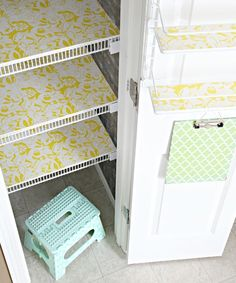 Line wire shelves with foam board covered in contact paper. I am so sick of crap falling over in the pantry.