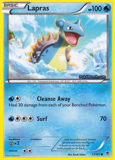 People have driven Lapras almost to the point of extinction. In the evenings, this Pokémon is said to sing plaintively as it seeks what few others of its kind still remain. Pokemon Lapras, Pokemon 100, Cool Pokemon, Catch Em All, Deck Design, The 100, Surfing, Pokémon Cards, Decks