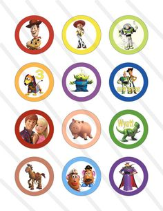 Disney Pixar Toy Story Custom Birthday Party 2 inch Cupcake Toppers Digital Printables Party Favor Circles