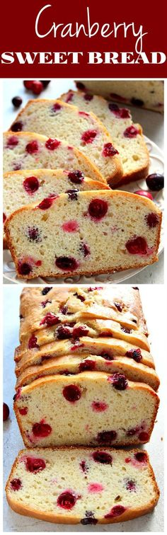 Cranberry Bread recipe - quick and easy sweet bread with whole cranberries. Delicious along with a cup of coffee or tea or a wonderful holiday gift!