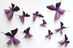3D paper butterfly sticker, wall sticker, baby nursery, room decoration, wedding decoration in purple 10 pieces. $18.00, via Etsy.
