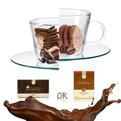 One decadent choice versus the other. Both fantastically rich. Both equally delicious. Why choose when you can enjoy them both? #chocolate #mocha #coffeetime #cantgetenoughchocolate www.randkcafe.myorganogold.com Black Coffee, Coffee Time, Mocha, Hot Chocolate, Latte, Tea, Mugs, Tableware, Gold