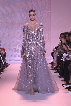 Zuhair Murad Look Collection Couture Automne Hiver Stunning Silver Mermaid Evening Dress / Evening Gown with Deep Neck Cut, Long Sleeves, V-Back Cut, Princess Skirt and a Train. Mermaid Evening Dresses, Evening Gowns, Prom Dresses, Formal Dresses, Mermaid Gown, Lovely Dresses, Beautiful Gowns, Elegant Dresses, Haute Couture Dresses