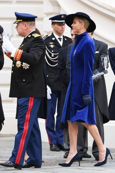 Princess Charlene of Monaco and Prince Albert II of Monaco attend the Monaco National day celebrations in Monaco Palace courtyard on November 19 2017...