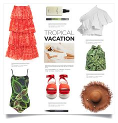 """""""Welcome to Paradise: Tropical Vacation"""" by marina-volaric ❤ liked on Polyvore featuring CECILIE Copenhagen, Mi-Pac, Gaia, Miu Miu, Urban Decay, Bobbi Brown Cosmetics, Maybelline and TropicalVacation"""