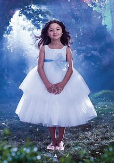 Pretty White Ball Gown Square With Sash/ Ribbon Flower Girl Dress