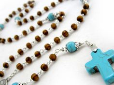 St. Peters wood and Turquoise Rosary $30.00 This Rosary is designed by popular demand for both our male and female customers and is perfect for daily prayer or daily wear.