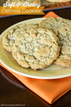 A recipe for Chewy Oatmeal Cookies. Homemade oatmeal cookies with no chocolate chips, no nuts, and no raisins. Just simply a delicious cookie recipe. Soft Chewy Oatmeal Cookies, Homemade Oatmeal Cookies, Oatmeal Cookie Recipes, Delicious Cookie Recipes, Cookie Desserts, Yummy Cookies, Just Desserts, Baking Recipes, Sweet Recipes