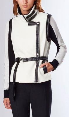 <p>Mini grid jacquard vest inspired by the classic '40s-era bomber.</p>  <p>Colors: Winter White, Black</p>