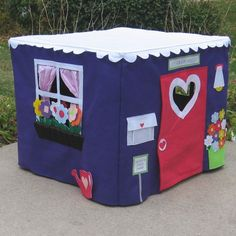 "Card table playhouse by Miss Pretty Pretty.  The slip cover goes over a 38"" card table!"
