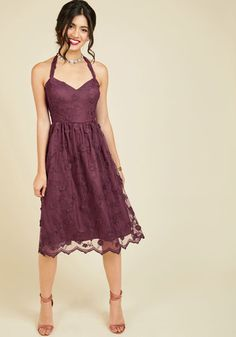 Reach the height of regal style in this 3D lace dress, surrounded by your best friends. Beauty is redefined by the removable halter straps, gathered waist, and floral appliques of this burgundy midi - an opulent staple from our ModCloth namesake label that will capture everyone's attention. By the way, this lovely item will be available for purchase in October!