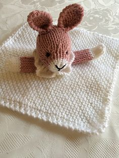 Ravelry: Bunny Mini Cuddly Blankie pattern by Pat Alinejad Baby Doll Clothes, Doll Clothes Patterns, Free Rabbits, Knitted Hats, Crochet Hats, Animal Knitting Patterns, Free Knitting, Knitting Ideas, Crafty Craft