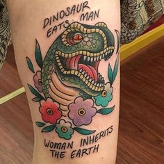 Tattoo from yesterday! Her photo was better then my blurry one! #dinosaur