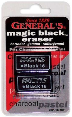 GENERAL PENCIL-Magic Black Eraser.  A superior eraser for charcoal and pastel.  It is soft and gentle on fine papers; yet strong... (see details) $2.49