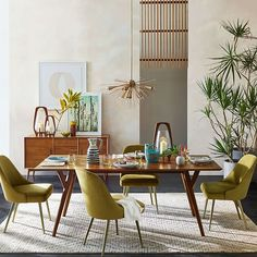 Upgrade Your Dining Room Decor w/ These Mid-Century Dining Chairs Farmhouse Dining Room Table, Dining Room Table Decor, Dining Table Design, Dining Room Walls, Room Decor, West Elm Dining Table, Dining Area, Living Room, Retro Dining Table