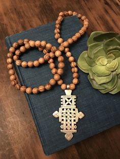 Long Beaded Necklace Olive Wood Bead Necklace Coptic Cross
