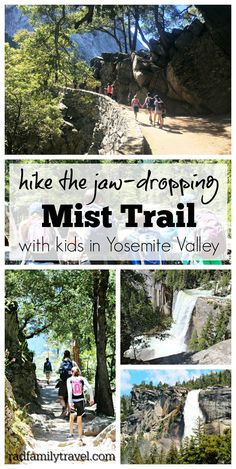Hike the Mist Trail in Yosemite with your family and friends! A stunning experiencein one of California's best national parks. Get soaked in the mist of Vernal and Nevada Falls and enjoy the John Muir trail on the way back down to the valley. California National Parks, Us National Parks, Yosemite National Park, California Travel, Yosemite California, California With Kids, California California, Michigan Travel, Northern California