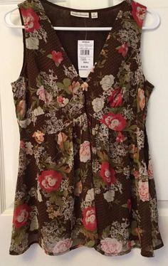 Sleeveless Knit Top Coffee Bean Brown Boho Multi Floral Size S John Paul Richard #JohnPaulRichard #KnitTop #All