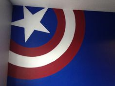 Captain America theme bedroom using wilko paint! Amazing coverage we used 'midnight blue' and 'red apple' durable emulsion
