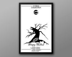 Sleepy Hollow, Black & White Alternative Movie Poster // Dying Tree, Full Moon, and Underworld Portal Illustrations