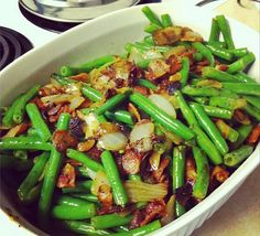 Green Bean and Bacon goodness... This looks great! Though I would revise this recipe a bit.