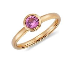 Round Pink Sapphire Ring in 14k Rose Gold