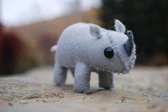 Tiny Stuffed Rhino Toy  Felt Animal by FeltOriginalToys on Etsy