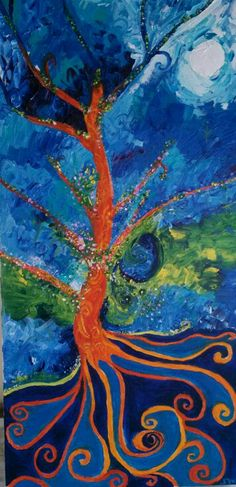 Art by Sue Schenck my try at Tree of Life SOLD Palette knife painting.