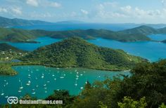 The view of Fortsberg, Coral Bay, Hurricane Hole, East End and the BVIs.
