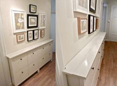 Ikea Hemnes double shoe cabinet turns into hall storage. Ikea Hemnes Shoe Cabinet, Hallway Cabinet, Hallway Sideboard, Narrow Cabinet, Basement Apartment, Apartment Entryway, Apartment Ideas, Small Hallways, Home Decor Accessories