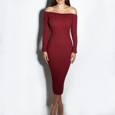5dffa43ccc94 Sexy Dew Shoulder High Waist Dress. Red Off Shoulder DressLong Sleeve ...