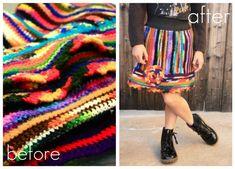 Repurposed afghan skirt