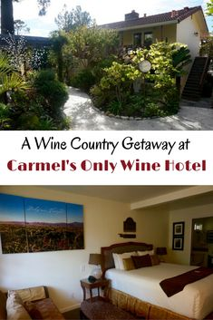 Take a wine tasting getaway to Carmel-By-The Sea in the Monterey Bay Area. To add to your trip stay at the only wine-themed hotel in Carmel.