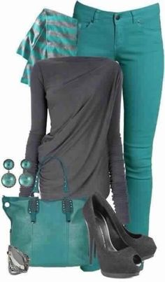 Like the turquoise & grey together