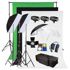 BPS Profi 540W Fotostudio Set Studioleuchte Studioblitz Studioset inkl. Abschirmklappe Schirm Hintergrund Stoff(weiß schwarz grün )Tasche Studioklemmen Synchronblitzlampe Lampenstativ - http://kameras-kaufen.de/bps/540w-bps-profi-1200w-fotografie-fotostudio-set-2