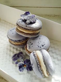 Rose Bubble Wine & Candied Pansy Butter Cream Macaron