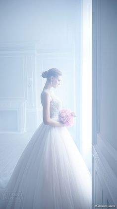 Madison James Bridal Fall 2015 Wedding Dresses | Wedding Inspirasi | Ultra Glamorous Sleeveless Bridal Ball Gown Showcasing A Heavily Embellished Bodice With Jewel Neckline, Full Tulle Ball Gown Skirt^^^^
